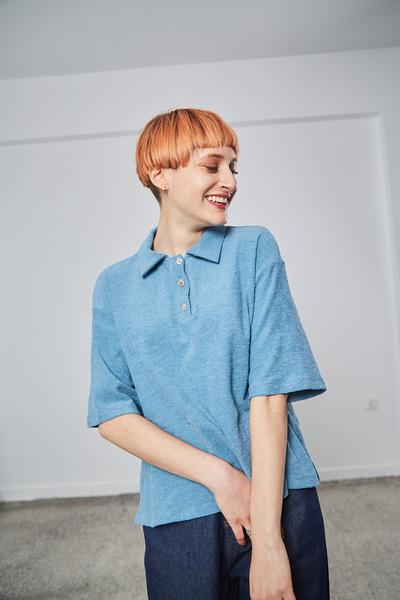 Μπλούζα πετσετέ με γιακά