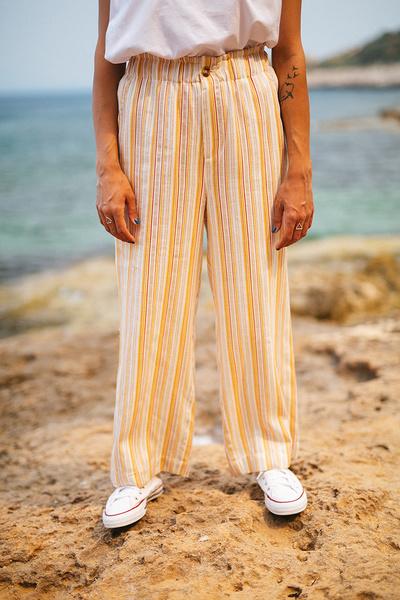 Ριγέ παντελόνι με λάστιχο